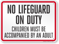 Iowa No Lifeguard On Duty Sign