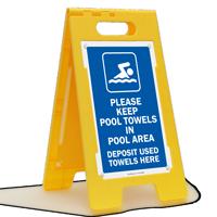 Keep Towels In Pool Area Floor Sign