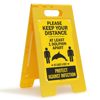 Keep Your Distance At Least 1 Dolphin Apart FloorBoss Sign