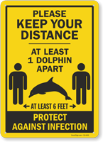 Keep Your Distance At Least 1 Dolphin Apart Sign