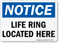 Life Ring Located Here Notice Sign