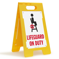 Lifeguard On Duty Floor Sign