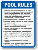 Pool Rules Sign for Michigan