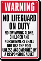 Missouri No Lifeguard On Duty Pool Sign