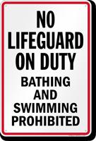New York No Lifeguard On Duty Pool Sign
