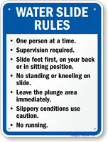 Water Slide Rules Sign for New York