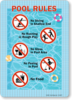 No Diving Running Glass Peeing Food Pool Rules Sign