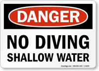 No Diving Shallow Water Danger Sign