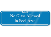 No Glass Allowed In Pool Area Wall Sign