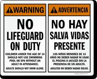 Advertencia No Hay Salva Vidas Presente Bilingual Sign