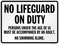 New Jersey No Lifeguard On Duty Sign