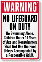 Indiana No Lifeguard On Duty Pool Sign