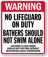 Utah No Lifeguard On Duty Pool Sign