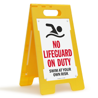 No Lifeguard On Duty Swim At Your Own Risk Floor Sign