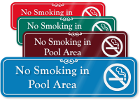 No Smoking In Pool Area ShowCase Wall Sign