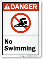 No Swimming ANSI Danger Sign