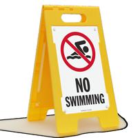 No Swimming Floor Sign
