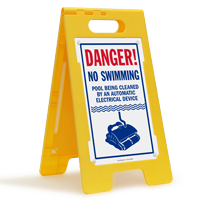 No Swimming, Pool Being Cleaned Floor Sign