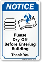 Notice Dry Off Before Entering Pool Sign