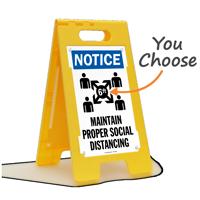 NOTICE: Maintain Proper Social Distancing (w/ Graphic) FloorBoss XL™ Floor Sign