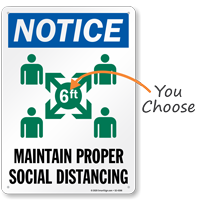 Notice Maintain Proper Social Distancing Sign