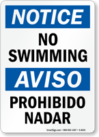 Notice No Swimming Bilingual Sign