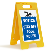 Notice Stay Off Pool Ropes Floor Sign