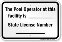 Pennsylvania Pool Operator Sign