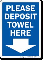 Please Deposit Towel Here Pool Rules Sign
