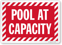 Pool At Capacity Social Distancing Sign