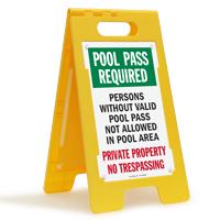 Pool Pass Required Private Property Floor Sign