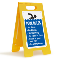 Pool Rules No Glass No Diving No Running Floor Sign