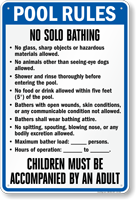 Georgia Pool Rules No Solo Bathing Sign