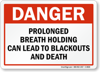 Prolonged Breath Holding Danger Pool Sign