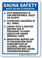 Sauna Safety Rules, Reduce Overheating Risk Sign