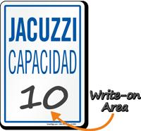 Jacuzzi Capacidad Spanish Maximum Capacity Sign