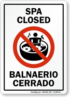 Bilingual Spa Closed Sign With Graphic