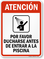 Spanish Shower Before Entering Pool Sign