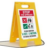 Stop the Spread Please Maintain 6 Feet/2 Meters Of Social Distancing FloorBoss XL™ Floor Sign