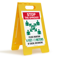 Stop the Spread Please Maintain Social Distancing 6 Feet/ 2 Meters  FloorBoss XL™ Floor Sign