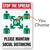 Stop The Spread Please Maintain Social Distancing Sign
