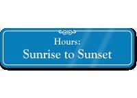 Sunrise To Sunset Pool Hours ShowCase Wall Sign