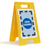 Swim Clockwise Floor Sign