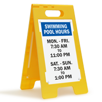 Swimming Pool Hours Custom Standing Floor Sign