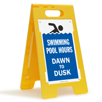 Swimming Pool Hours Dawn To Dusk Floor Sign