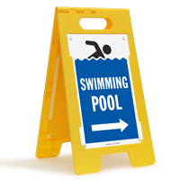 Swimming Pool (with Right Arrow) Floor Sign