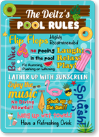 The Family Name No Diving Personalized Pool Rules Sign