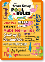 The Family Name Relax Swim Personalized Pool Rules Sign