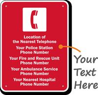 Utah Custom Emergency Telephone Sign