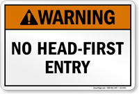 Utah No Head-First Entry Pool Warning Sign